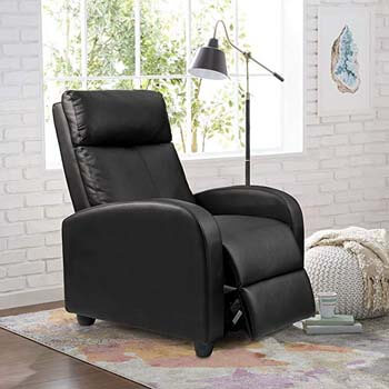 1. Homall Single Recliner Chair Padded Seat Black PU Leather Living Room Sofa