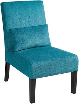 8. Roundhill Furniture Pisano Teal Armless Chair