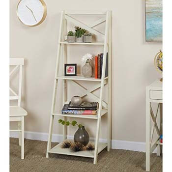 9. Simple Living Antique White 4-Tiered X-Shelf Ladder Case