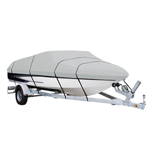 8. AmazonBasics Boat Cover for V-Hull Runabouts and Bass Boats