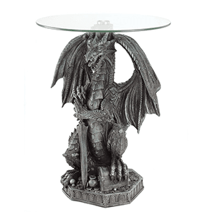 1. Guardian Dragon Stone Look Figural Home Accent Table