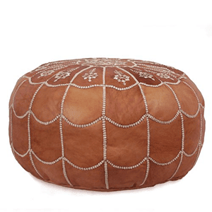 4. IKRAM Design Moroccan Leather Pouf with Arch, Dark Tan