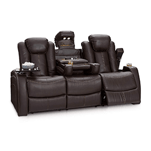 4. Seatcraft Omega Leather Gel Home Theater Seating Power Recline Multimedia Sofa