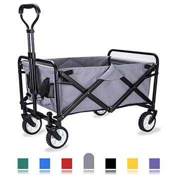 5: WHITSUNDAY Collapsible Folding Garden Outdoor Park Utility Wagon Picnic Camping Cart with Replaceable Cover (Compact Size, Grey)