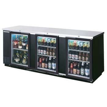 3. Beverage-Air BB94GF-1-B Three-Section Refrigerated Food Rated Back Bar Storage Cabinet 94
