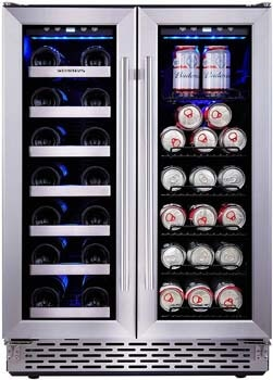3. Phiestina 24 Inch Built-In Dual Zone Wine and Beverage Cooler with French door