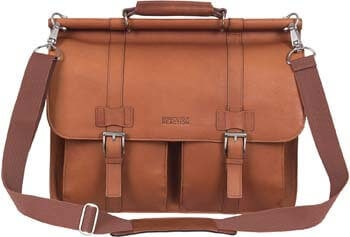 3. Kenneth Cole Reaction Colombian Leather Dual Compartment Flapover 15