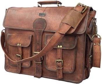 6. Cuero DHK 18 Inch Vintage Handmade Leather Messenger Bag Laptop Briefcase Computer Satchel bag For Men