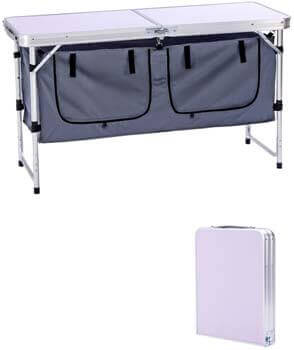 8. Camp Field Camping Table with Adjustable Legs for Beach, Backyards, BBQ, Party, and Picnic Table
