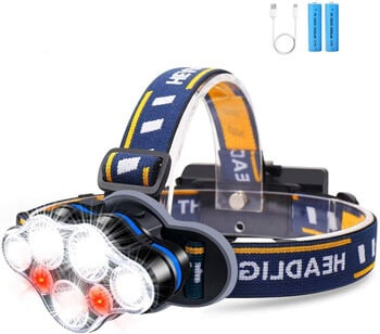 4. KeShi Headlamp, High 2700 Lumens Ultra Bright 7 LED Headlight Flashlight