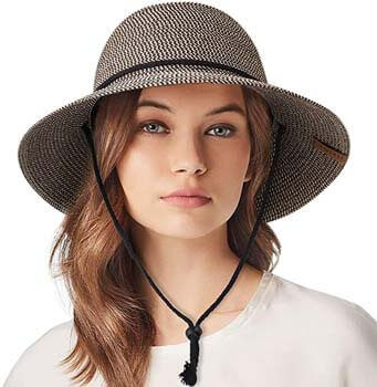 7. FURTALK Women's Wide Brim Sun Hat with Wind Lanyard UPF Beach Summer Sun Straw Hats for Women