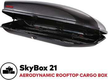 8. YAKIMA, SkyBox Aerodynamic Rooftop Cargo Box for Cars, Wagons, and SUVs