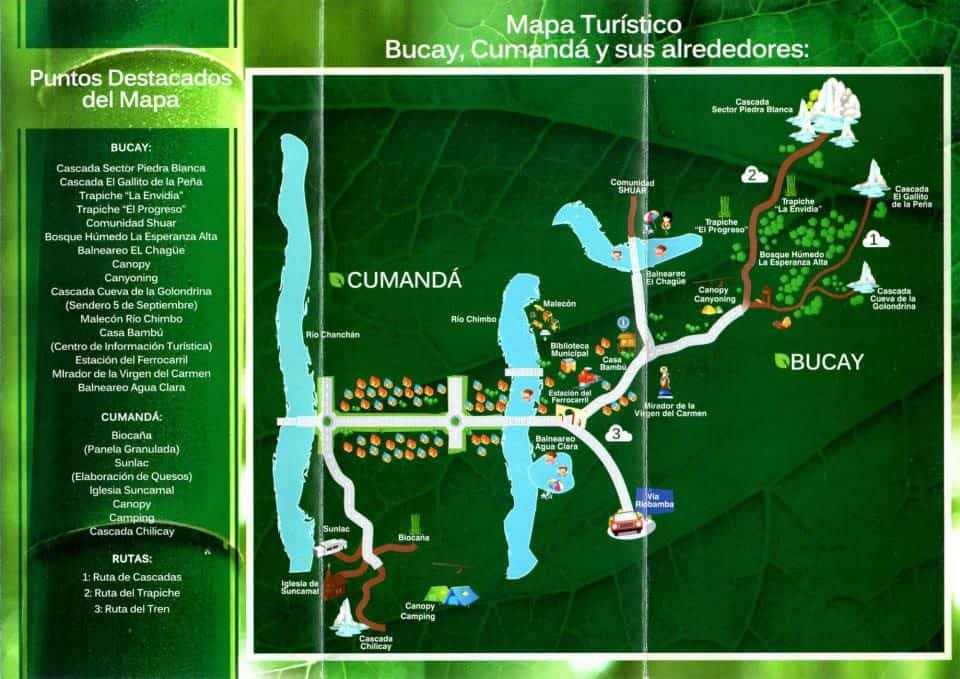 Tourist map of Bucay, Ecuador (source: Facebook)