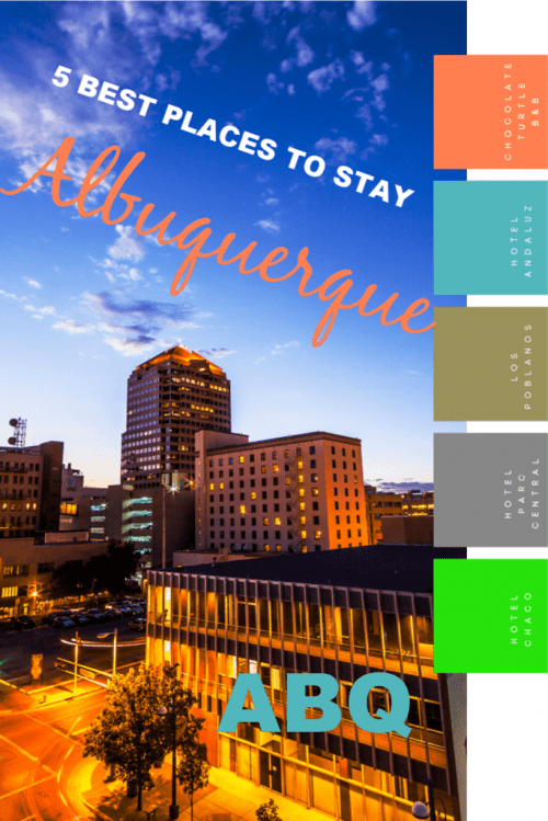 DOWNTOWN aLBUQUERQUE AS SUN SETS WITH TEXT:
