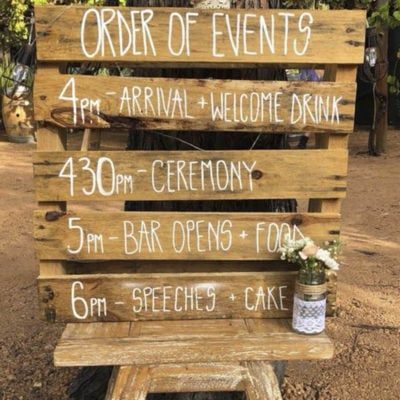 Time Table Of The Event Written In Wood