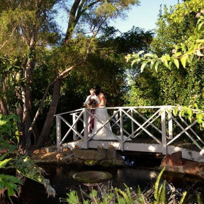 Bride on the outdoor bridge in The Glade