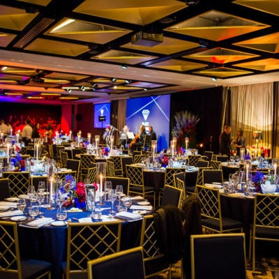 Function Venue Set Up With Gala Style Tables And Chairs For An Event