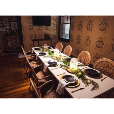 Long table set for a dining experience with beetle styled wallpaper