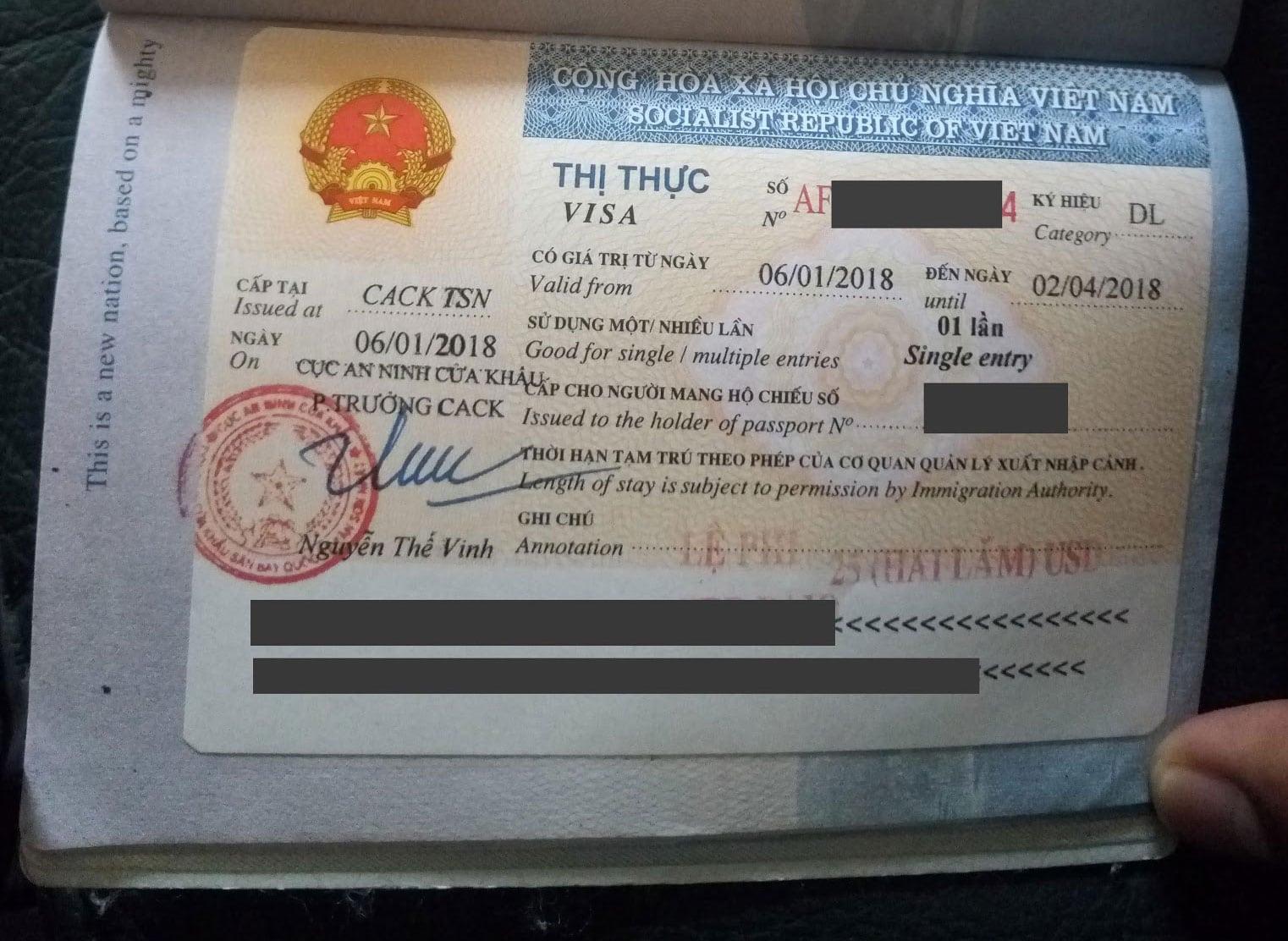 3 months Single entry visa