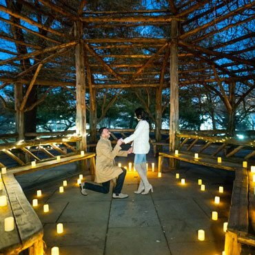 Night Proposal with Candles in Central Park