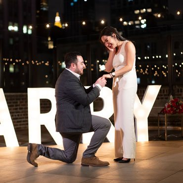 Gigantic Marry Me Letters Rooftop Proposal
