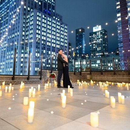 Private rooftop with 200 LED candles