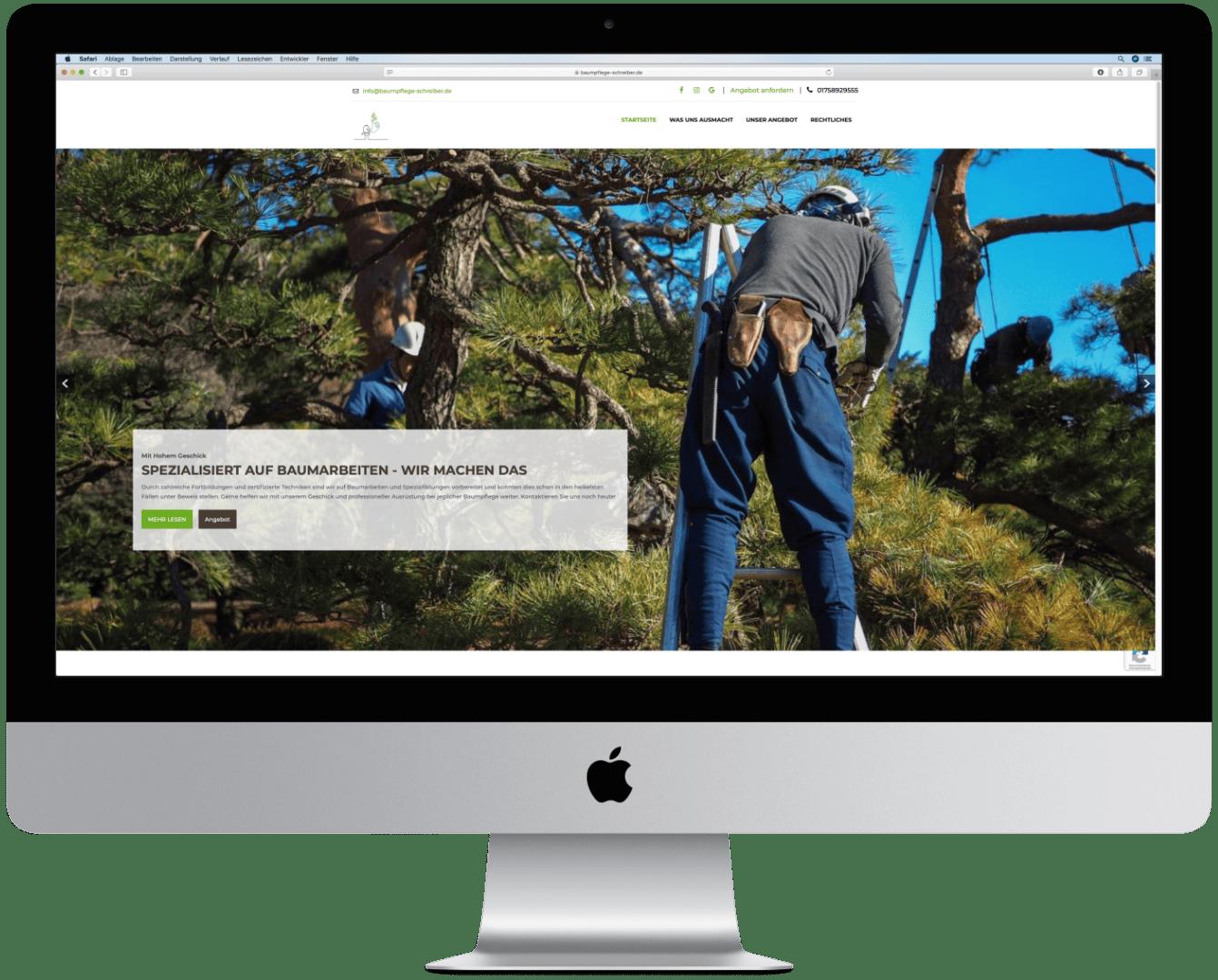 Website der Baumpflege Schreiber GmbH auf einem Computer mit Ansicht der Landingpage.