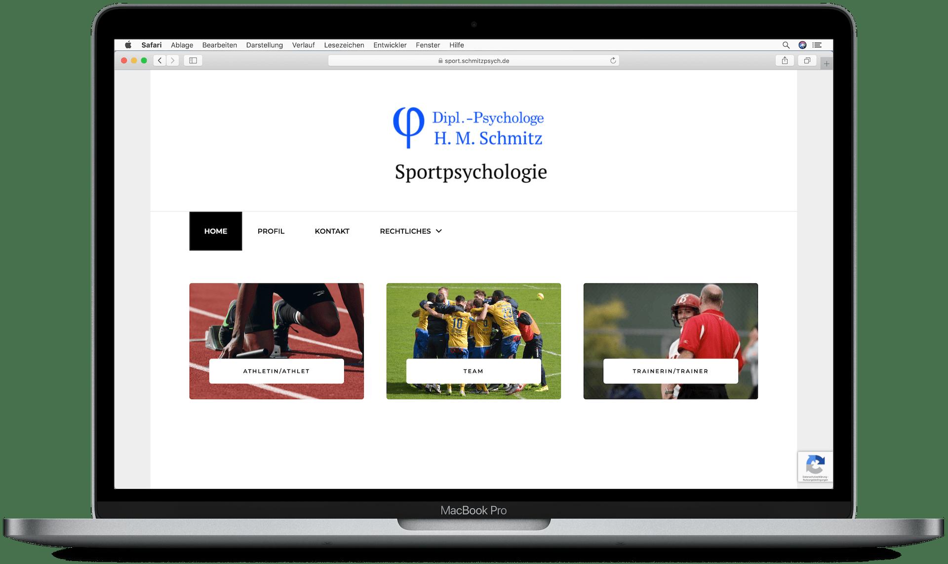 Website von Dipl.Psychologe H. Schmitz auf einem Laptop mit Ansicht der Übersichtsseite für den Bereich Sportpsychologie.