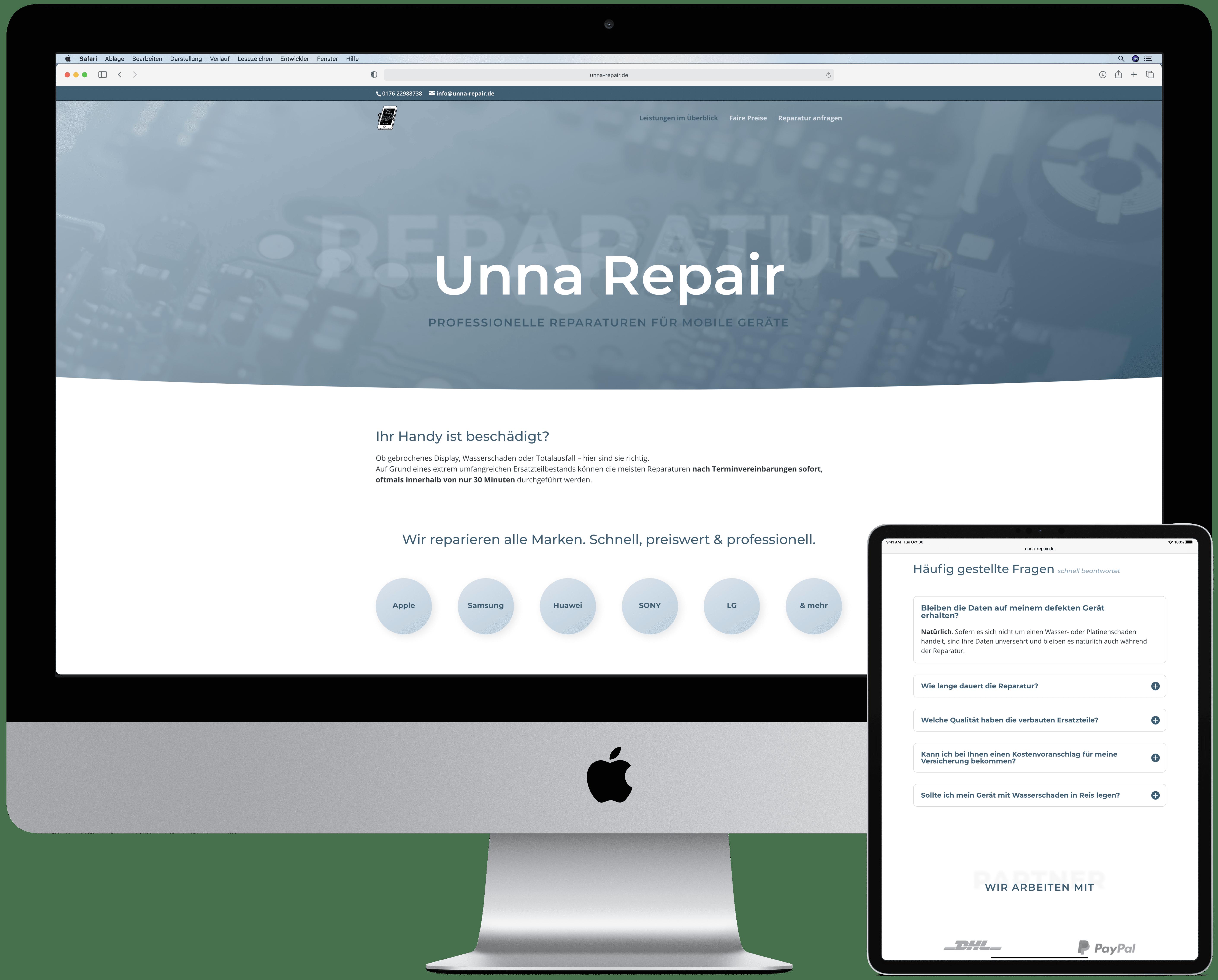 Die Website von Unna Repair auf einem Computerbildschirm und einem Tablet mit Ansicht der Startseite bzw. des FAQs.