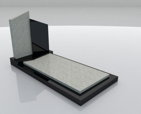 Grafsteen Weesp in Imperial White en Zwart graniet