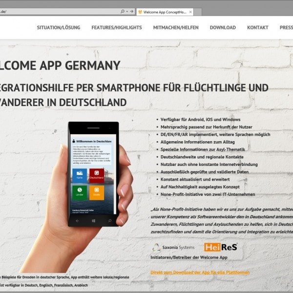 Neue Welcome App Webseite online
