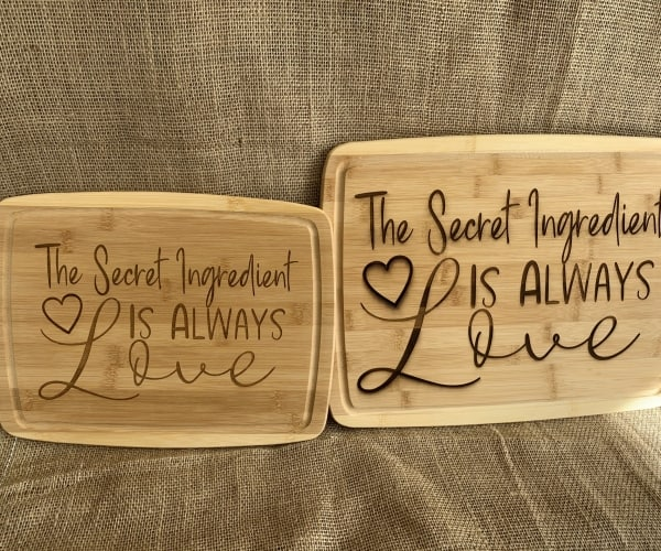 Secret Ingredient is Always Love bamboo Engraved Cutting Board