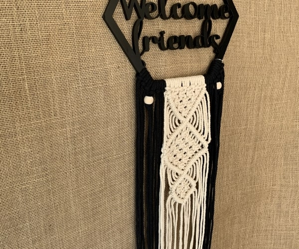 Black Framed Welcome Friends lasercut Wood Macrame Wall Hanging