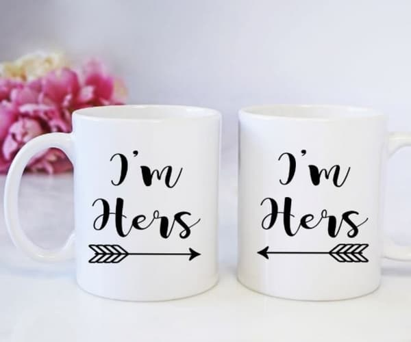 girl love matching Im hers matching coffee mugs lesbian gift