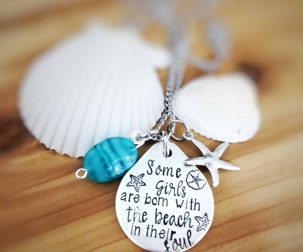 Engraved quote Necklace - Some Girls are born with the Beach in their Soul - Starfish and seaglass