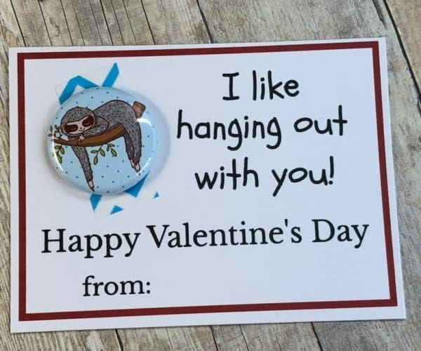 Valentines Day Card for classroom-sloth: cardstock, metal, paper, mylar, washi tape