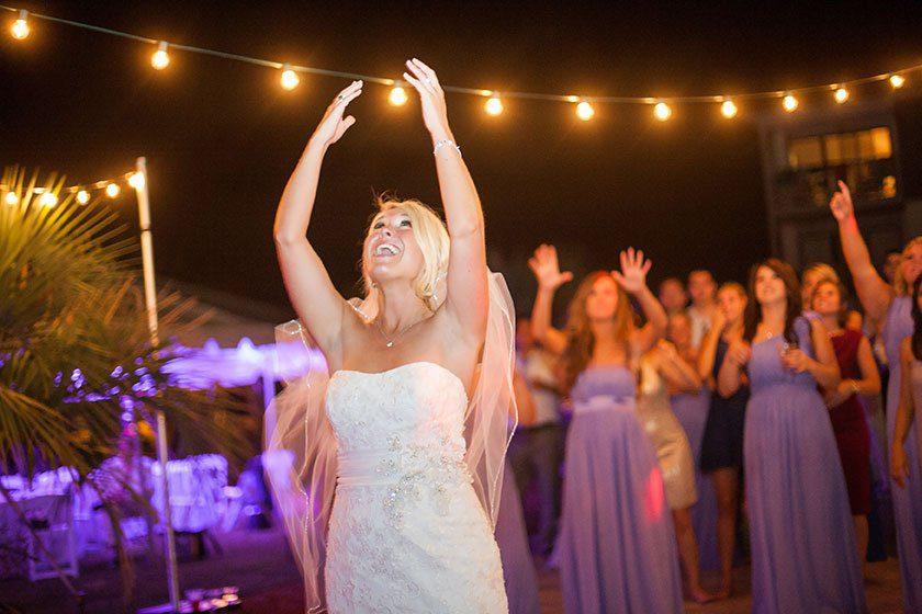 outdoor dance floor string lighting swag ocean isle beach