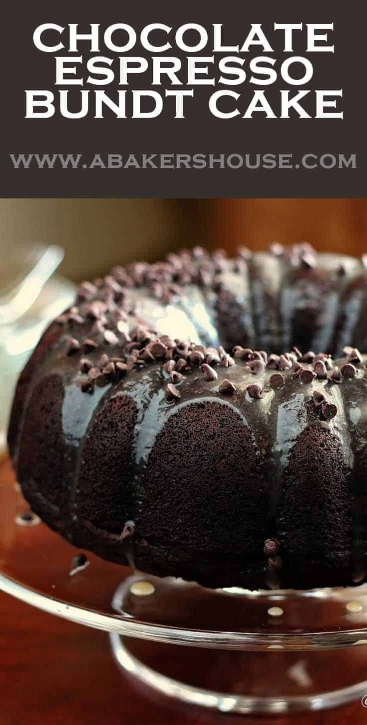 Deeply rich with chocolate flavor, this chocolate espresso bundt cake is improved with the addition of espresso powder. Chocolate and espresso are a perfect match! #chocolatecake #bundtamonth #abakershouse