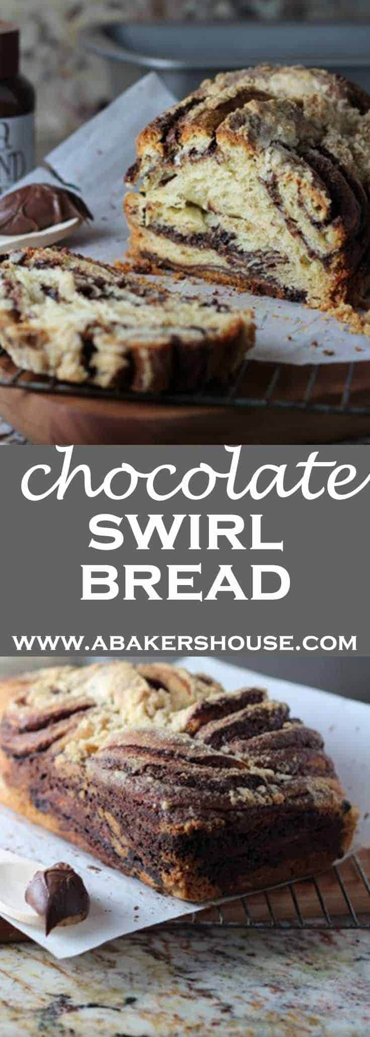 Chocolate Swirl Bread is an impressive homemade bread that is actually easy to make. The chocolate filling is layered into the dough then rolled up tightly into a log. A few simple steps let you twist and braid the dough into a swirled mix of dough and chocolate. #abakershouse #chocolate #chocolatebread #homemadebread