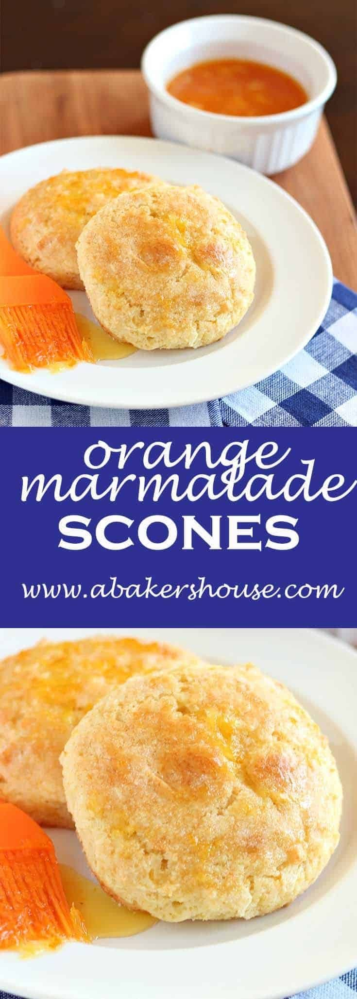 Orange marmalade scones are filled with bold, citrus flavors to perk up your day. Orange marmalade is in the scone dough and can be used on top too. Serve with tea and clotted cream if you are feeling especially British and are making the most of tea time. #abakershouse #scones #marmalade #orange