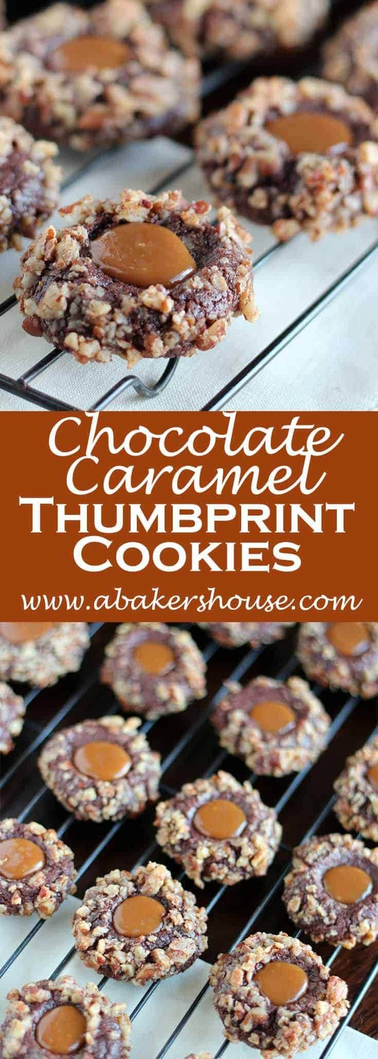 Chocolate Caramel Thumbprint Cookies: The dough is made and refrigerated, then balls of dough are dipped in egg whites and coated with pecans. The caramel is the treat added after baking. Perfect for Holiday cookie exchanges! #abakershouse #cookieexchange #cookierecipe #caramel #chocolate