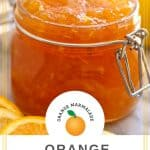 Pinterest image with orange marmalade and printable marmalade label
