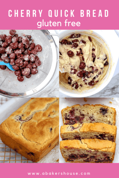 Four photos showing steps of baking cherry quick bread
