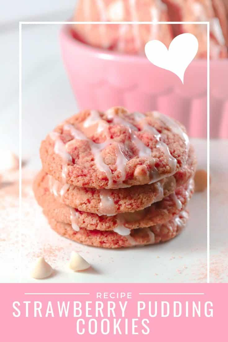 Strawberry pudding cookies are perfect for your Valentines celebrations! These pink cookies are festive and sweet and make a festive homemade gift. White chocolate chips look like little hearts in this Valentine's Day dessert. #abakershouse #pinkcookies #ValentinesDayCookies #valentinesdaytreats #valentinesdayideas #strawberrycookies #strawberryandcreamcookies #pinksugarcookies #Valentinesrecipe #Valentinessweets