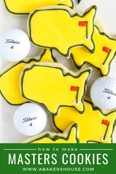 Pinterest image with pile of yellow and green golf Masters cookies