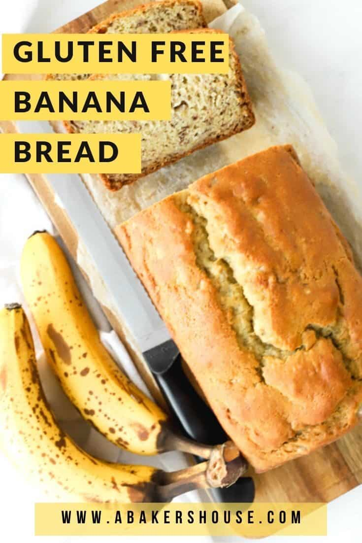 Gluten free banana bread is a super moist quick bread that will become your go-to banana bread! Use a gluten free flour mix to make this banana bread gluten free. No one will know that the gluten is missing! #abakershouse #glutenfree #glutenfreerecipe #easybananabread #banana #bananarecipe #quickbread #easybread #glutenfreebaking