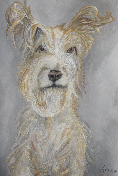 Retrato de perro. Tinta, acuarela y acrílico sobre papel. 0,42 x 0,30 m. 2018.