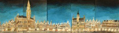 Bruselas. Grand Place en 360º. Tinta, acuarela y acrílico sobre papel, 0,42 x 1,50 m. 2018.