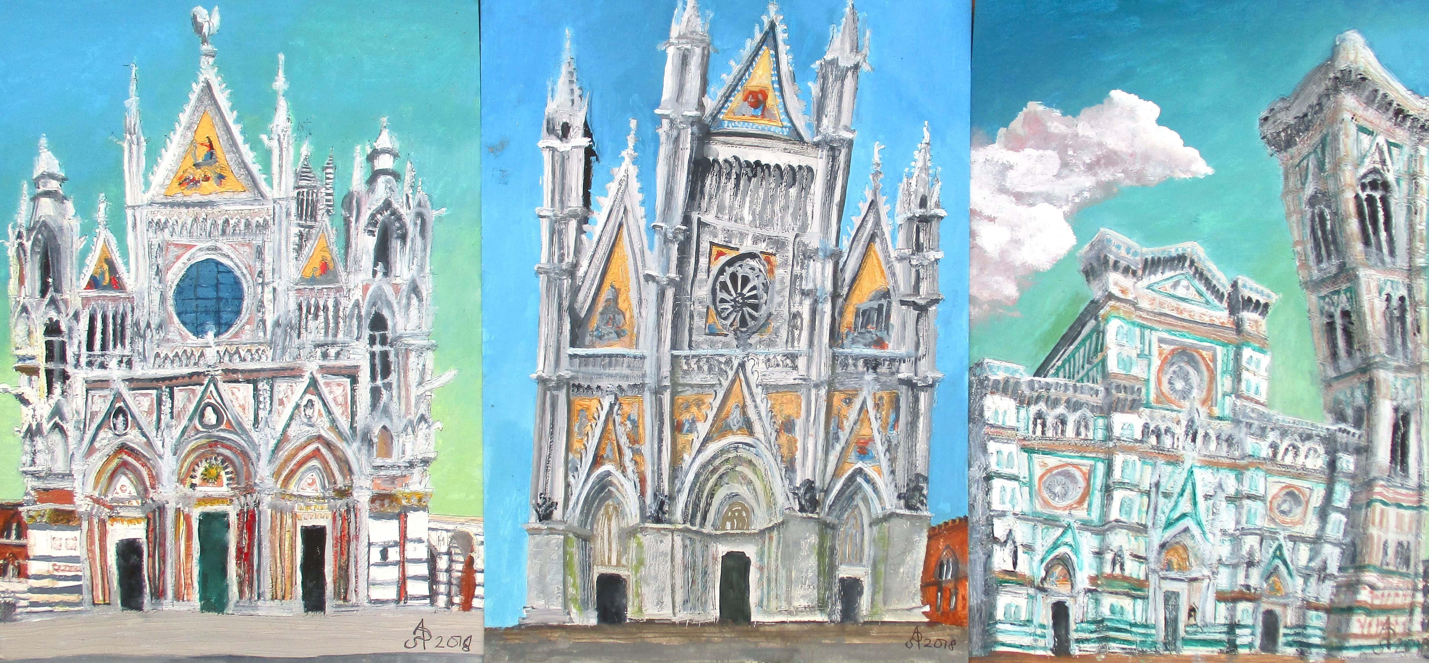 Fachadas de la catedrales de Siena, Orvieto y Florencia