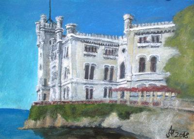 Trieste. Castello di Miramare. Tinta, acuarela y acrìlico sobre papel, 21 x 30 cm. 2018.